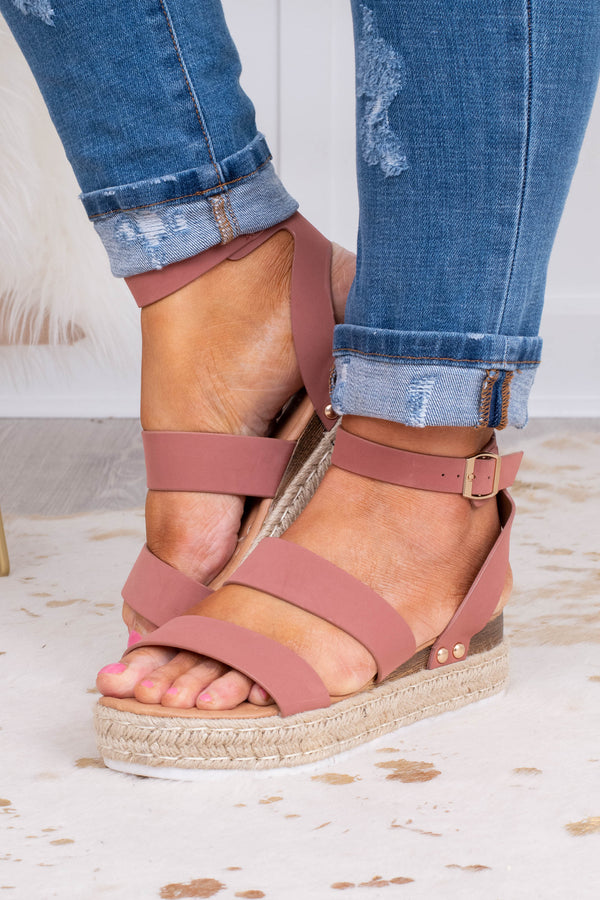 sandals, platform, rope sole, open toed, open heel, ankle strap, double foot straps, pink