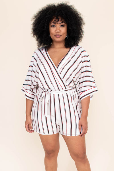 rompers, shorts, short sleeve, stripe, off white, red, black, loose, comfy, v neck, wrap front, tie waist