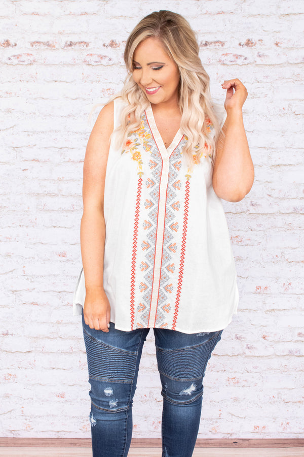 shirt, sleeveless, vneck, white, embroidered, longer back, thin, flowy, comfy