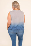 tank, vneck, wrap top, thick traps, loose, short, fitted waist, gray, blue, tie dye, comfy, spring, summer