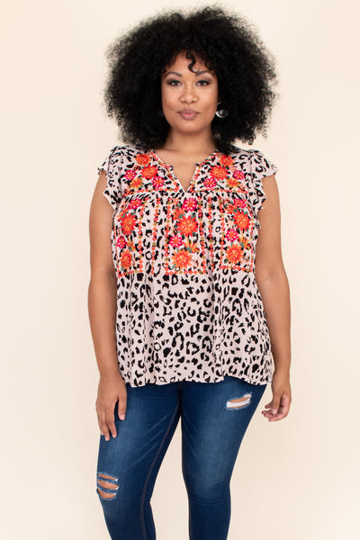 leopard, embroidery, details, top, brown, pattern, print, flowy, v neck, short sleeve
