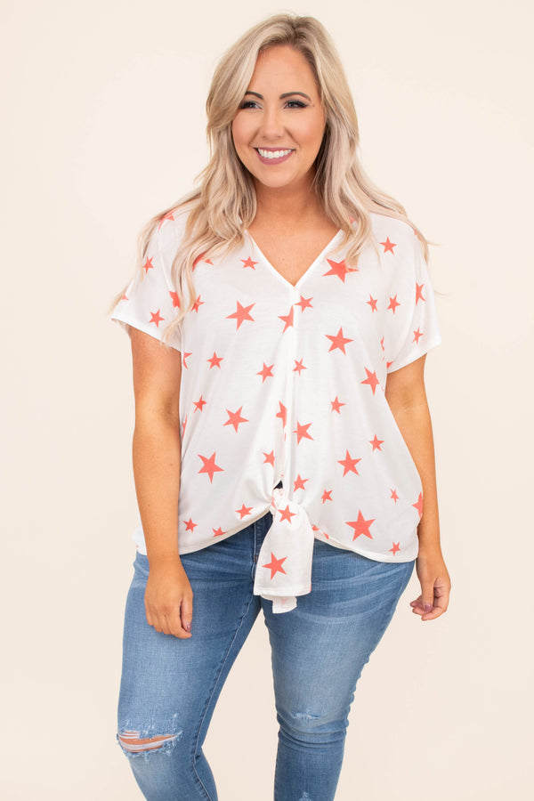 top, blouse, tie top, star detail, ivory, coral, short sleeve, v neck