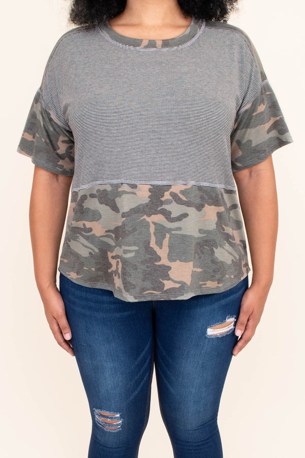 shirt, top, short sleeve, stripes, camo, loose, comfy, gray, green