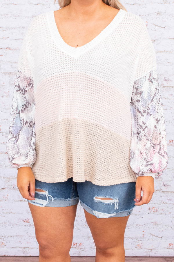 shirt, long sleeve, bubble sleeve, vneck, long, longer back, tan, blush, white, colorblock, snakeskin sleeves, gray, comfy