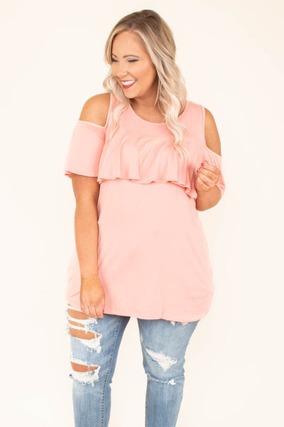 top, cold shoulder, peach, blush, ruffle, short sleeve