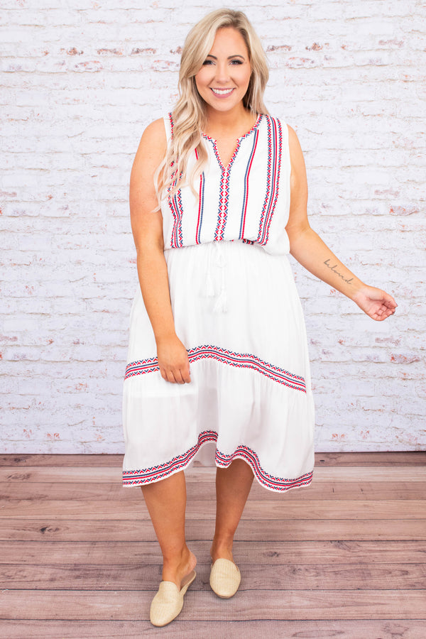 dress, midi, sleeveless, vneck, cinched waist, asymmetrical hem, flowy, white, embroidered, red, blue, comfy, spring, summer