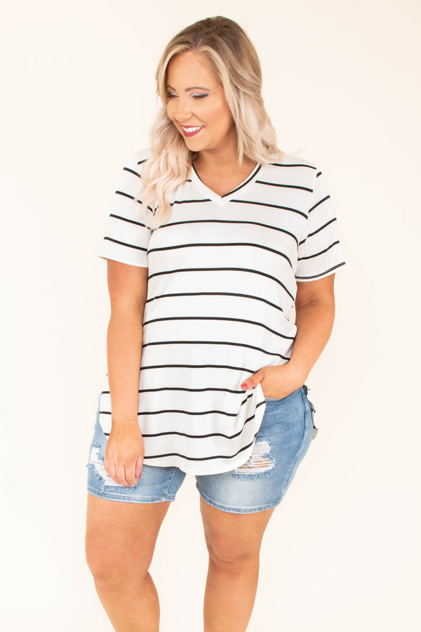 top, tee, short sleeve, striped, white