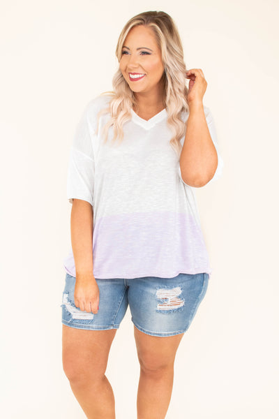shirt, short sleeve, vneck, flowy, thin, lavender, white, colorblock, comfy