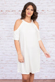 dress, short, short sleeve, cold shoulders, loose, white, comfy