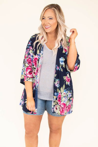 kimono, three quarter sleeve, flowy, long, navy, floral, blue, green, pink, comfy, spring, summer