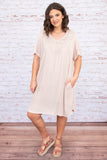 dress, short, short sleeve, vneck, pockets, curved hem, flowy, tan, cutouts, comfy