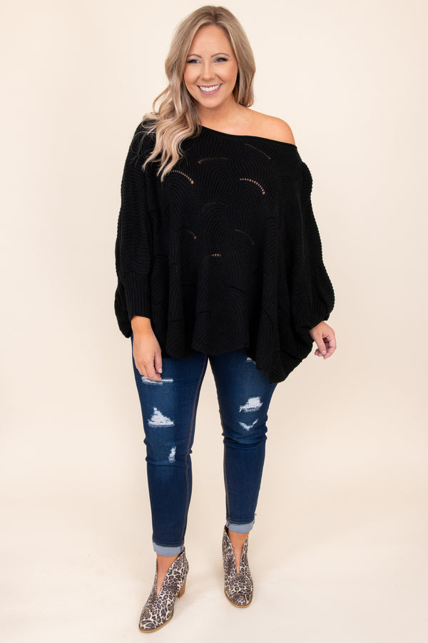 top, sweater, off the shoulder, black, lace, batwing sleeve, warm, comfy, fall, winter