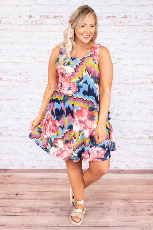 dress, short, sleeveless, pockets, flowy, blue, pink, yellow, navy, white, floral, zigzags, comfy, spring, summer
