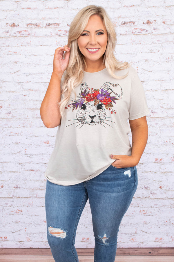 tshirt, short sleeve, curved hem, loose, white, graphic, bunny, flower crown, black, red, purple, green, comfy