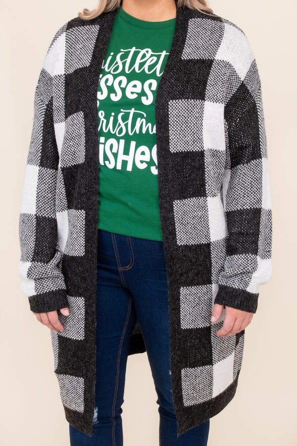 top, cardigan, black, white, plaid, long sleeve, winter, warm, layer
