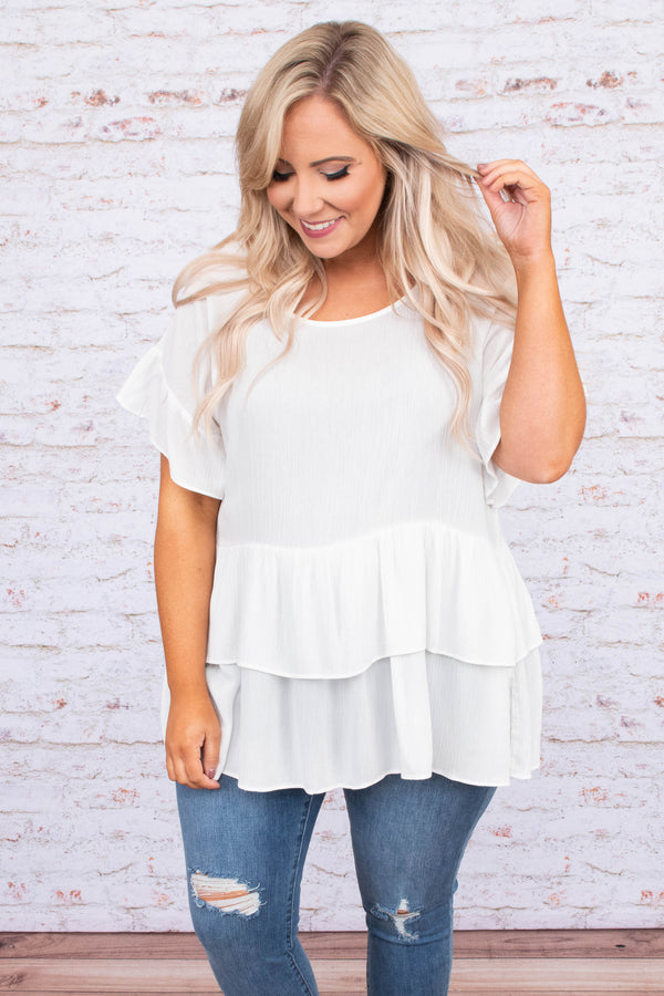 shirt, short sleeve, ruffle sleeves, babydoll, layered, tiered, flowy, white, comfy