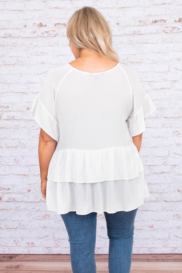 Clever Girl Top, White
