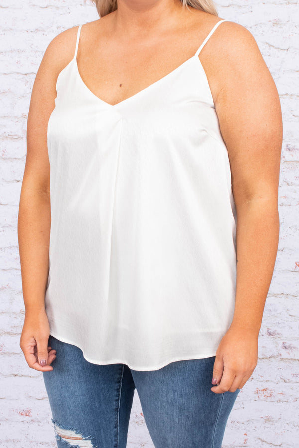 tank, spaghetti straps, vneck, curved hem, loose, shiny, white, comfy, spring, summer