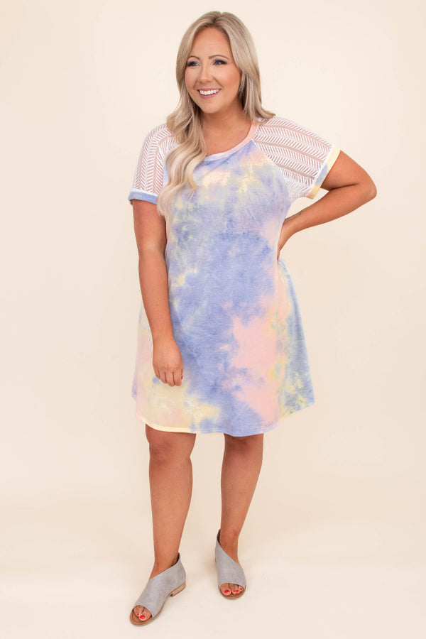 dress, short dress, short sleeve, tie dye, loose, comfy, detail sleeves, multi, muted, tie dye, purple, pink, yellow