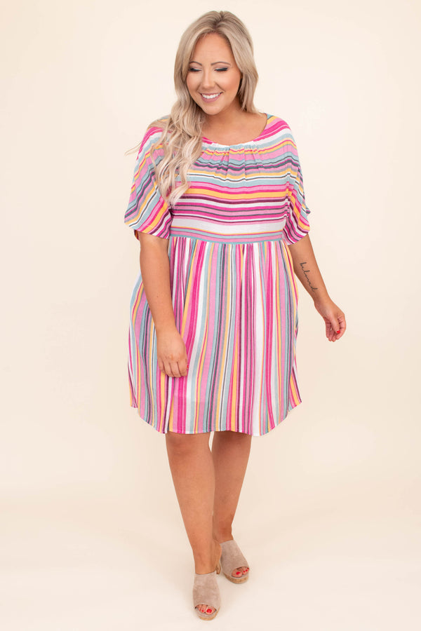 dress, short dress, short sleeve, knee length, loose, comfy, baby doll, striped, pink, yellow, blue, ivory, spring, summer