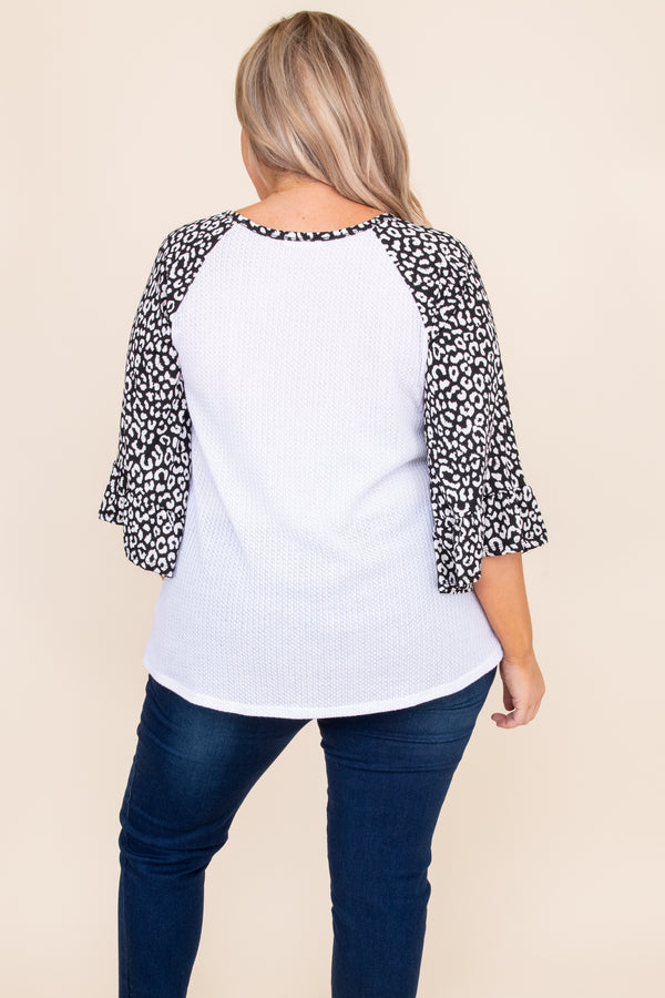 top, casual top, black, white, vneck, leopard, three quarter sleeve, casual