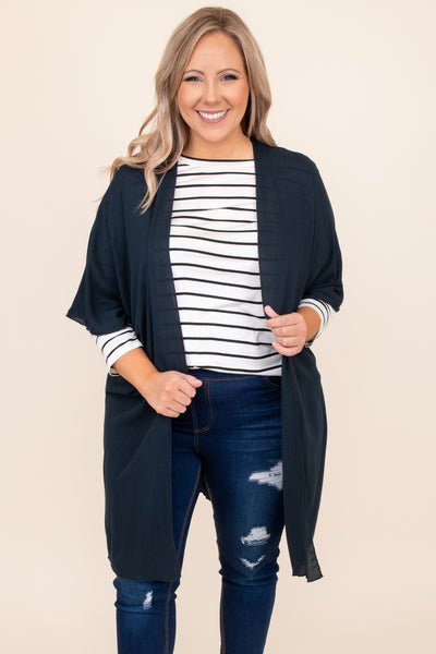 top, kimono, dark blue, solid, three quarter sleeve, layer