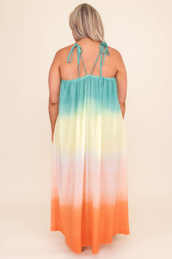 dress, maxi dress, long, floor length, tie dye, multi, sleeveless, v neck cut out, spaghetti strap, blue, yellow, pink, orange, summer, spring, loose, comfy