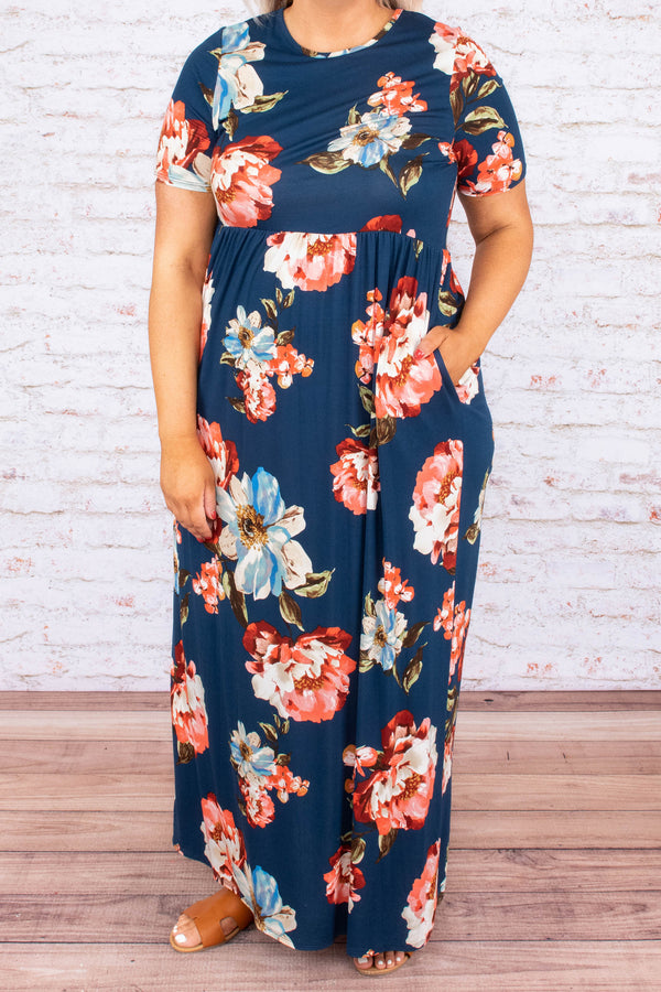 dress, maxi dress, long, baby doll, short sleeve, loose, comfy, floral, navy, blue, red, pink
