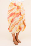 skirt, midi, high waisted, knotted front, loose, yellow, orange, white, tie dye, comfy, spring, summer