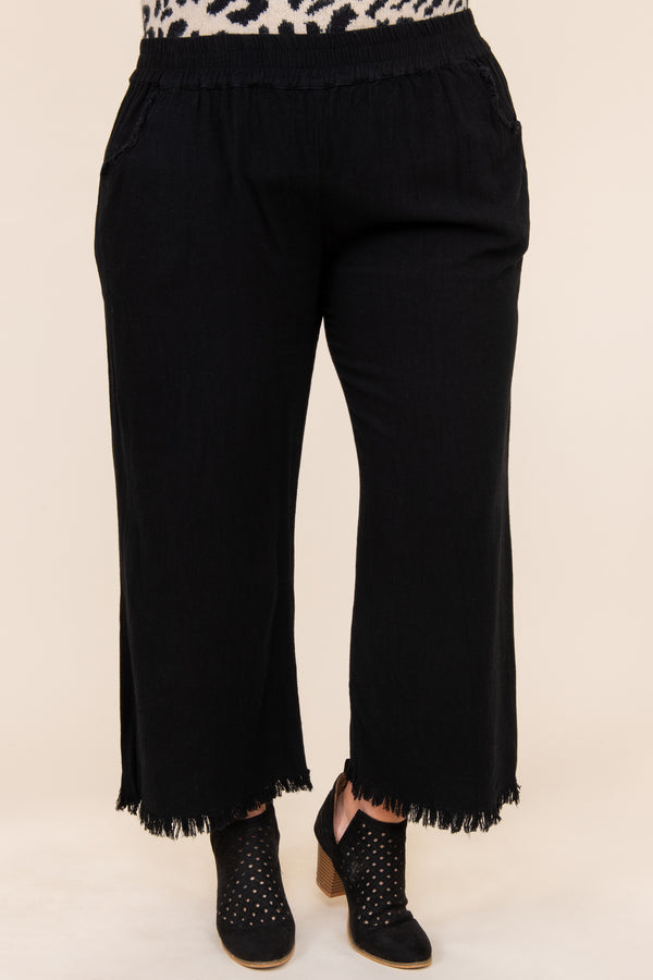 bottoms, pants, black, solid, flare pants, comfy, casual, dressy