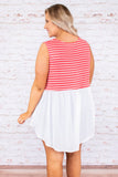Young Love Tank, Coral-White