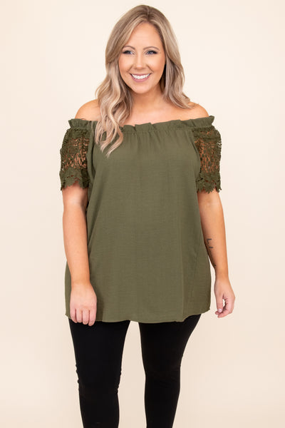 top, shirt, blouse, green, olive, lace, off the shoulder, short sleeve
