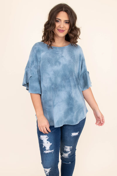 shirt, short sleeve, layered sleeves, curved hem, loose, teal, tie dye, comfy