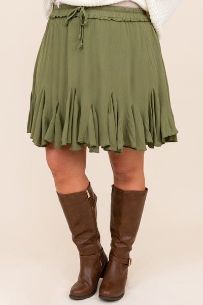 bottoms, skirt, green, solid, casual, fall, winter, comfy, olive