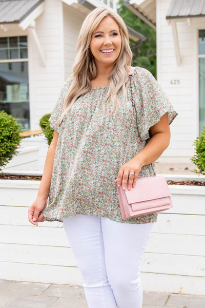top, casual, green, floral, flutter sleeve, sage