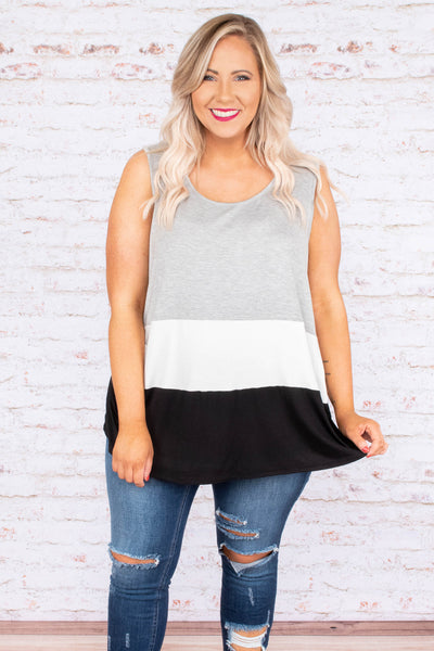 tank top, sleeveless, color block, grey, white, black, flowy, spring, summer