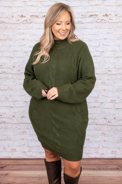 dress, casual dress, green, braided, long sleeve, sweater dress, olive, winter