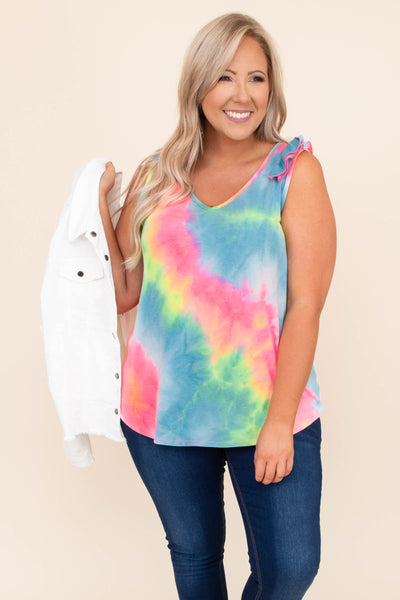 shirt, top, tank, sleeveless, v neck, ruffle sleeves, tie dye, multi, pink, yellow, blue, loose, comfy