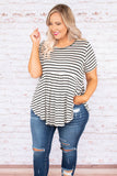 shirt, short sleeve, babydoll, curved hem, long, flowy, white, black, striped, comfy