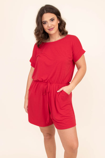 romper, shorts, short sleeve, pockets, drawstring waist, red, comfy, loose