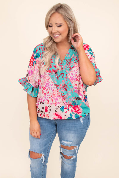 shirt, top, short sleeve, v neck, wrap front, loose, comfy, ruffle sleeve detailing, multiple prints, floral, leopard, mint, pink, ivory, bright