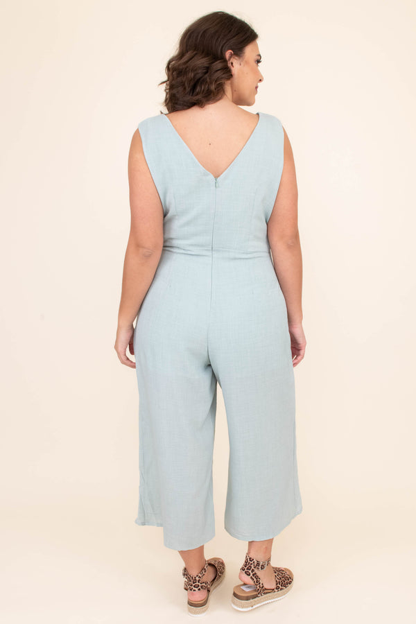 jumpsuit, strapless, thick straps, vneck, button down, cropped pant, wide leg, waist tie, mint, comfy, spring, summer
