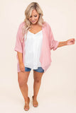 kimono, three quarter sleeve, cuffed sleeves, asymmetrical hem, loose, sheer, pink, outerwear, spring, summer