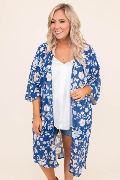 kimono, three quarter sleeve, long, flowy, thing, blue, floral, white, green, peach, comfy, outerwear, spring, summer