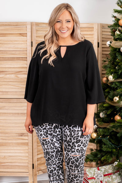 top. casual, black, solid, keyhole, long sleeve, flowy