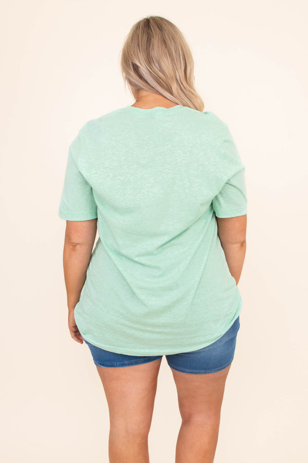 tshirt, short sleeve, curved hem, loose, mint, graphic, bunny, mama bunny, white, comfy