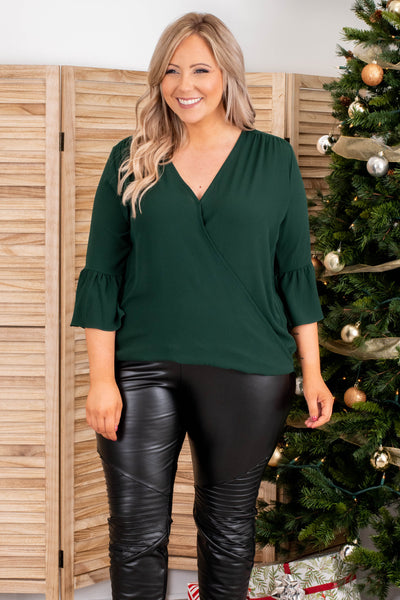 top, casual top, green, solid, bell sleeve, vneck, dressy, holiday