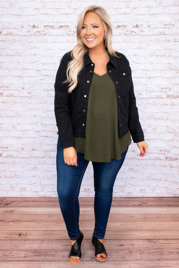 jacket, long sleeve, button front, denim, black, frayed hem
