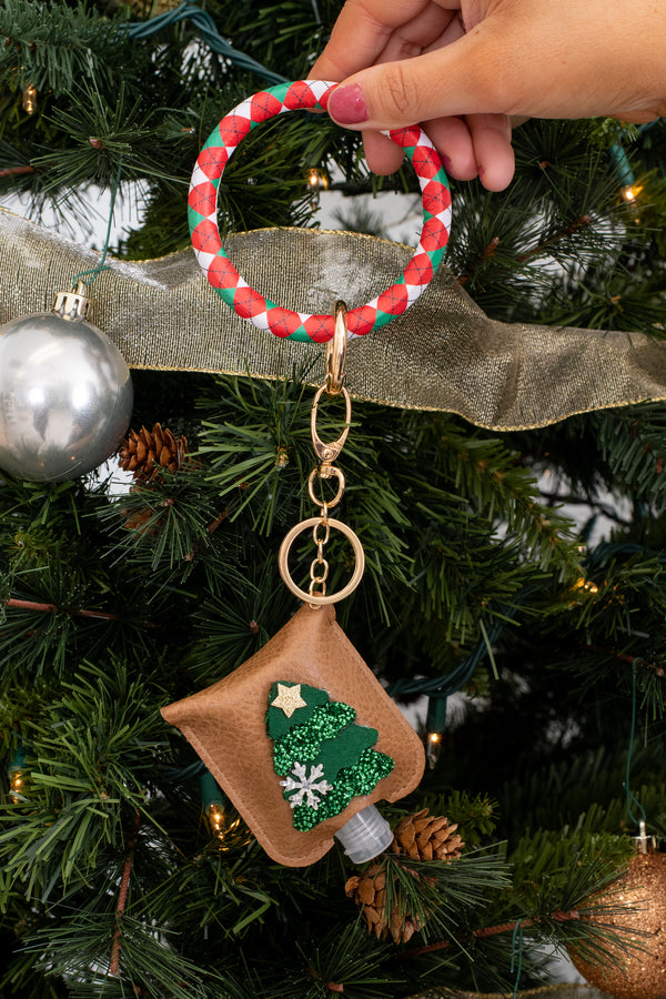 accessory, keyring, brown, green, novelty, Christmas tree, sanitizer, holder, Christmas
