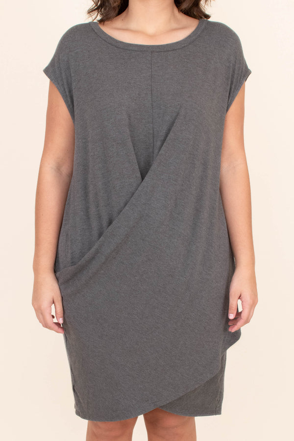 dress, short, short sleeve, twisted torso, loose, charcoal, comfy